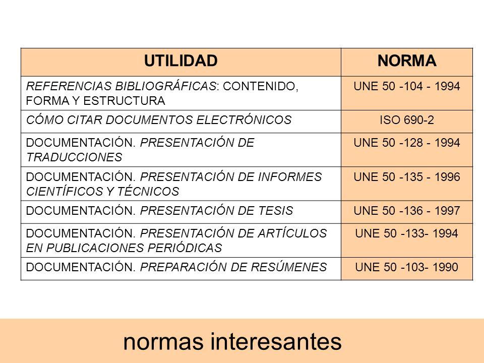 normas interesantes UTILIDADNORMA REFERENCIAS BIBLIOGRÁFICAS: CONTENIDO, FORMA Y ESTRUCTURA UNE 50 -104 - 1994 CÓMO CITAR DOCUMENTOS ELECTRÓNICOSISO 6