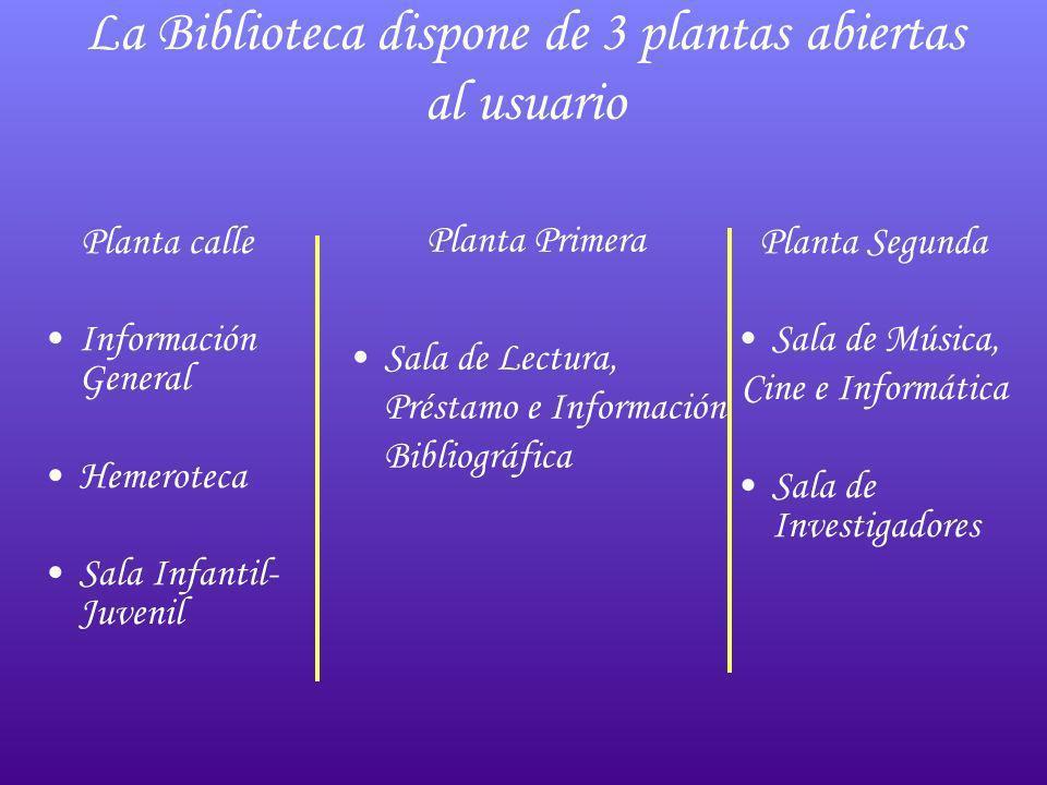 La Biblioteca dispone de 3 plantas abiertas al usuario Planta calle Información General Hemeroteca Sala Infantil- Juvenil Planta Primera Sala de Lectu