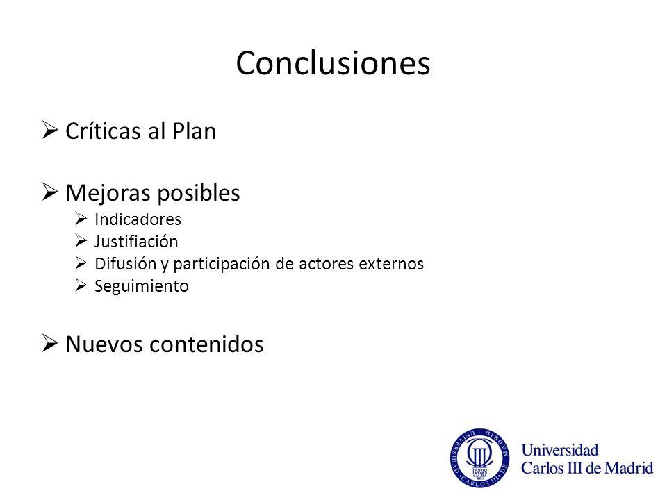 Conclusiones Críticas al Plan Mejoras posibles Indicadores Justifiación Difusión y participación de actores externos Seguimiento Nuevos contenidos