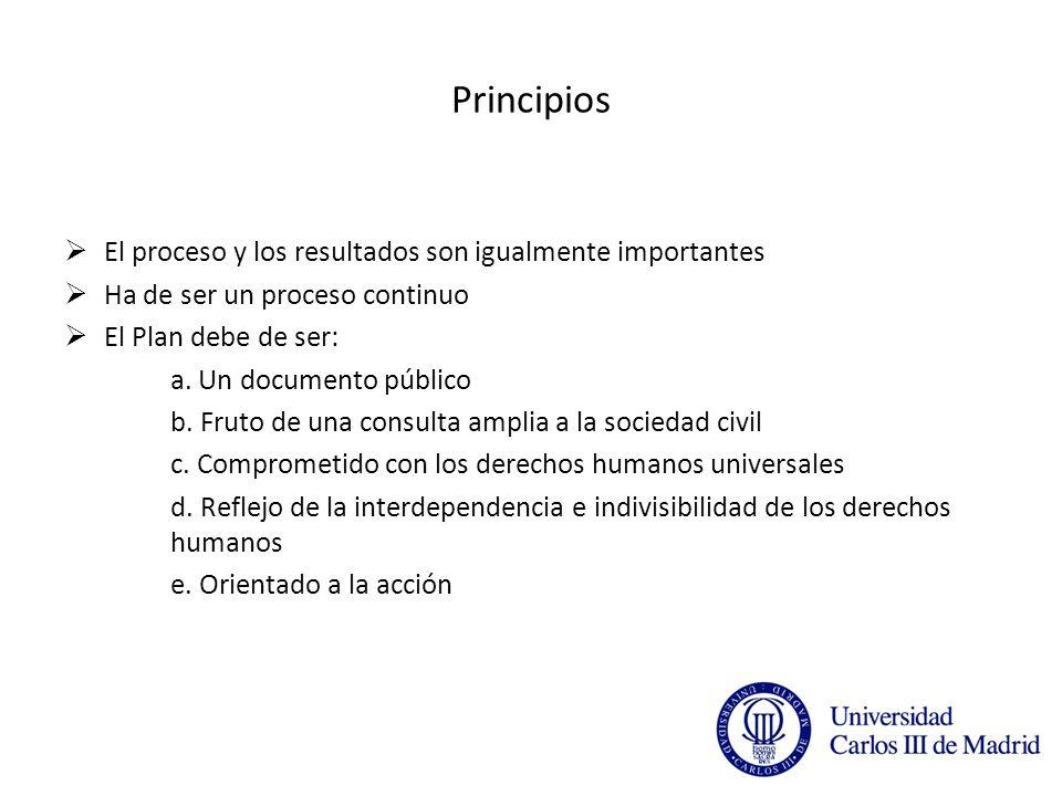 Principios El proceso y los resultados son igualmente importantes Ha de ser un proceso continuo El Plan debe de ser: a.
