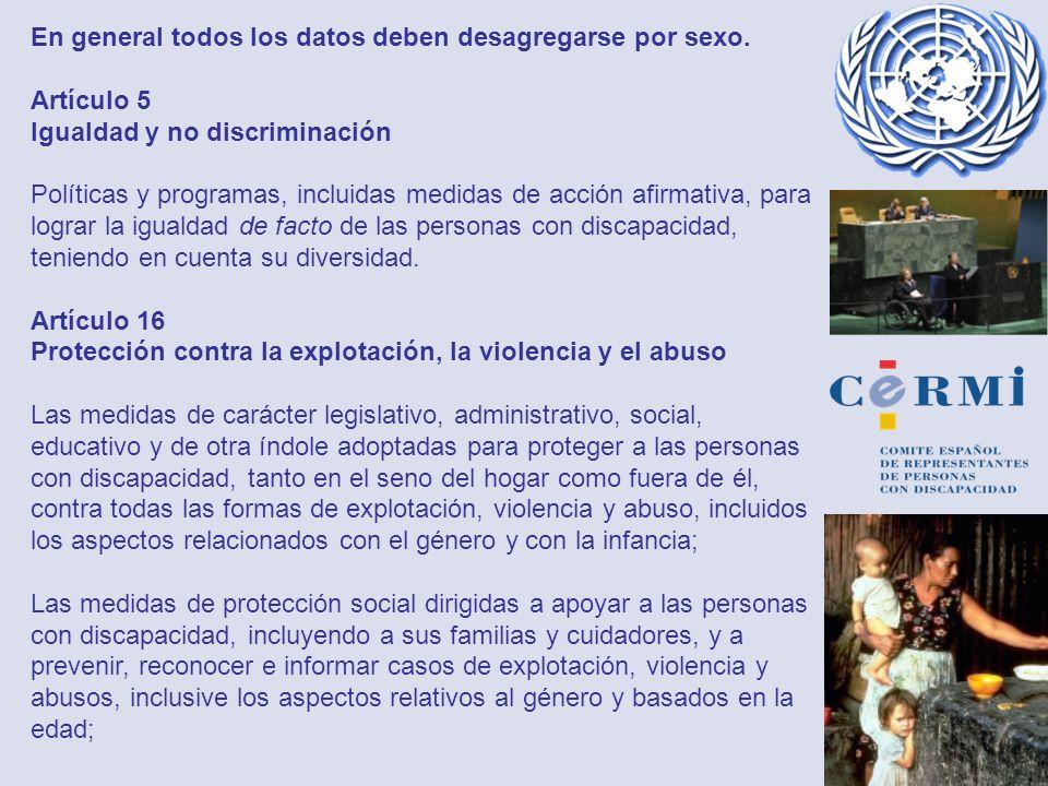 En general todos los datos deben desagregarse por sexo. Artículo 5 Igualdad y no discriminación Políticas y programas, incluidas medidas de acción afi
