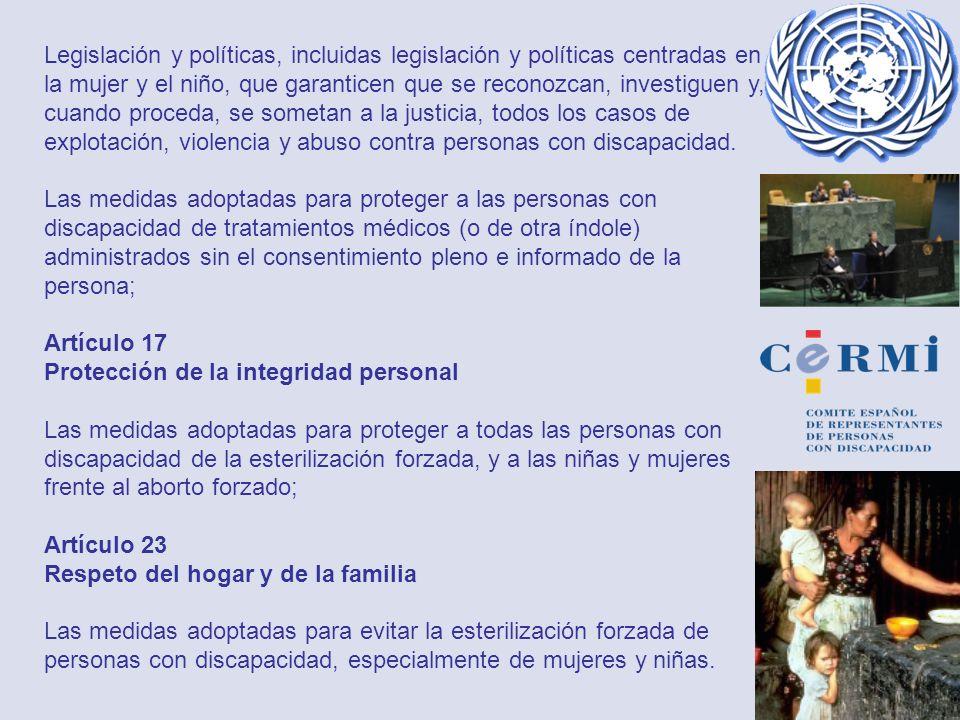 Legislación y políticas, incluidas legislación y políticas centradas en la mujer y el niño, que garanticen que se reconozcan, investiguen y, cuando pr