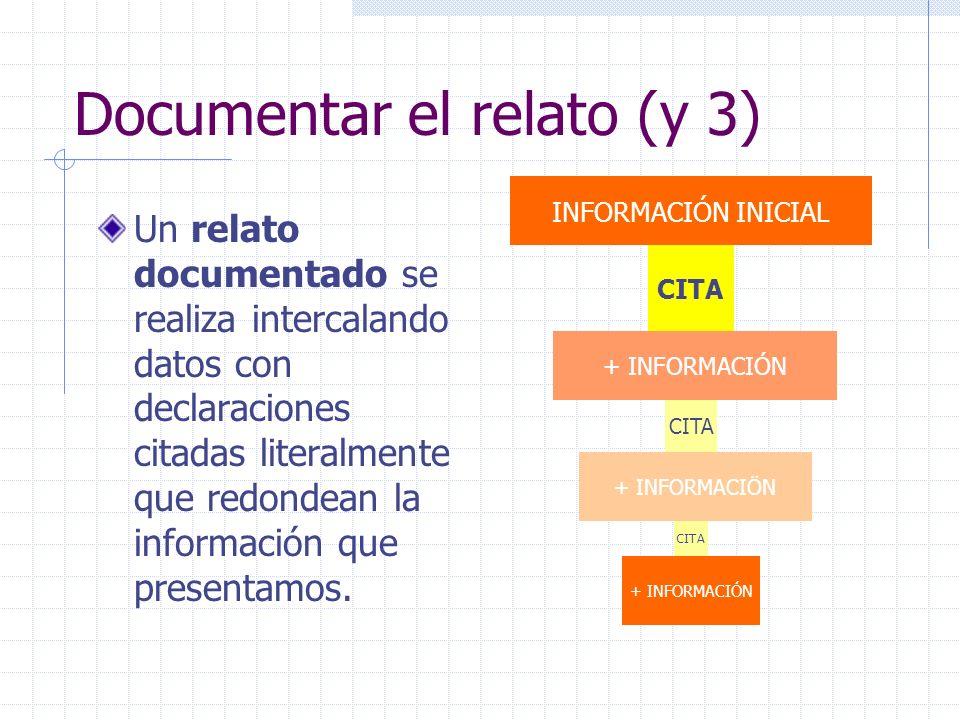 Documentar el relato (y 3) Un relato documentado se realiza intercalando datos con declaraciones citadas literalmente que redondean la información que