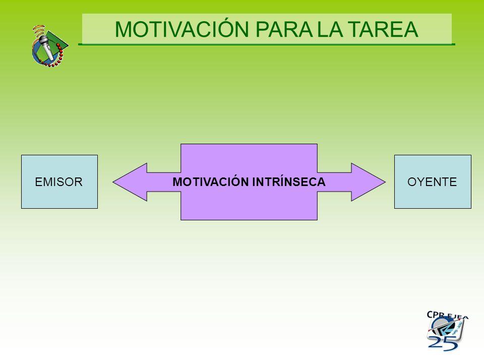 MOTIVACIÓN INTRÍNSECA OYENTEEMISOR MOTIVACIÓN PARA LA TAREA