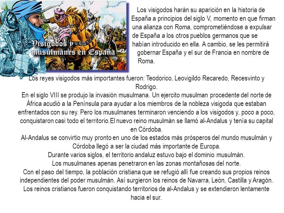 Los visigodos harán su aparición en la historia de España a principios del siglo V, momento en que firman una alianza con Roma, comprometiéndose a exp
