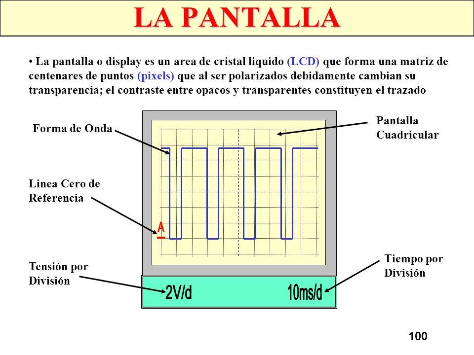 99 LOS CONTROLES Una serie de controles situados en el panel frontal permiten ajustar el tamaño de la imagen, controlar su desplazamiento y medir su v