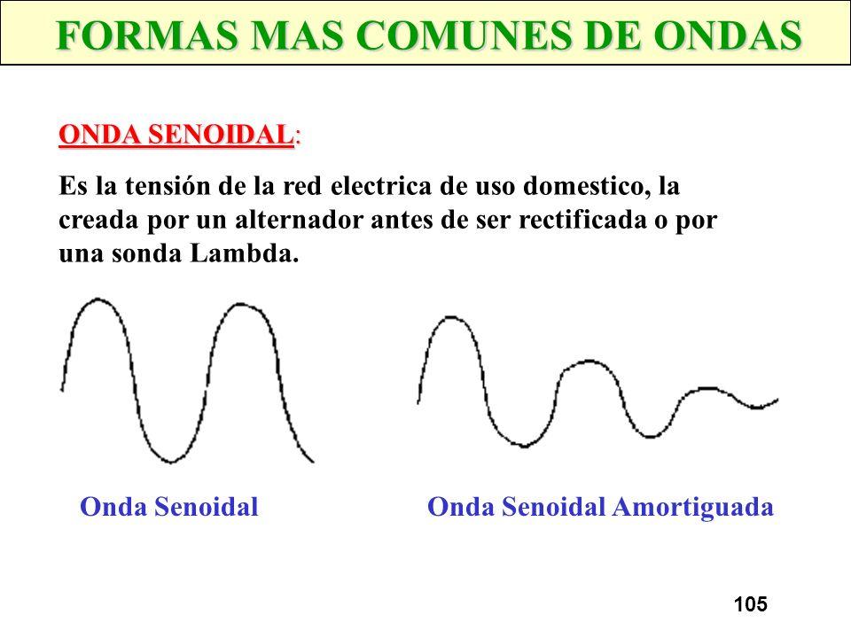 104 CONCEPTOS DE SEÑAL Tensión Tiempo ONDA Señal que se repite a lo largo del tiempo FORMA DE ONDA Representación gráfica de una señal que muestra el