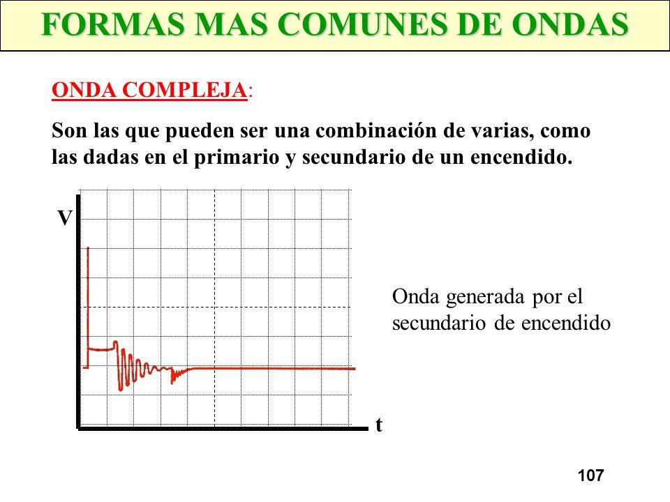 106 FORMAS MAS COMUNES DE ONDAS ONDA CUADRADA: Es la forma de señal que puede generar un captador Hall, sensor de fase, cuentakilometros, etc. V t Ond