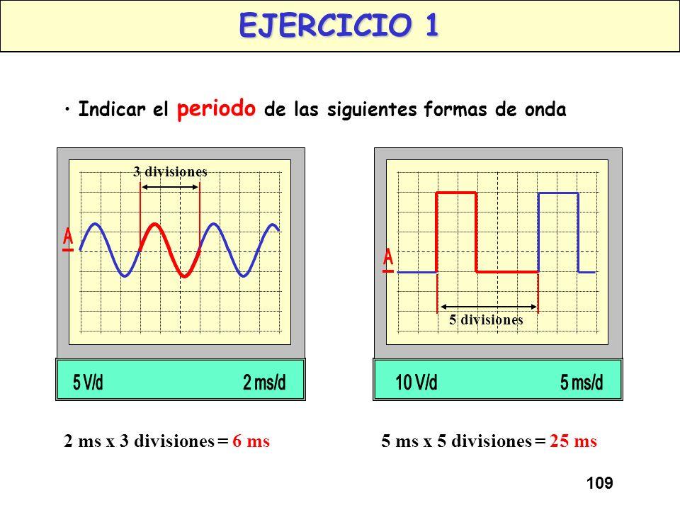108 PERIODO Conceptos: PERIODO El Periodo de una señal, es el tiempo que tarda una onda en realizar un ciclo completo. PERIODO 10 mseg x 4 divisiones