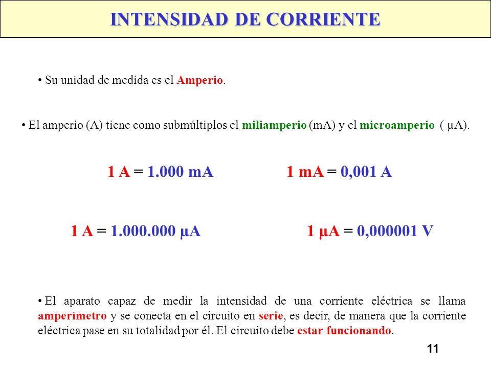 10 INTENSIDAD DE CORRIENTE Se denomina INTENSIDAD, a la cantidad de electrones que circulan por un consumidor, cuando se le aplica a este una tensión,