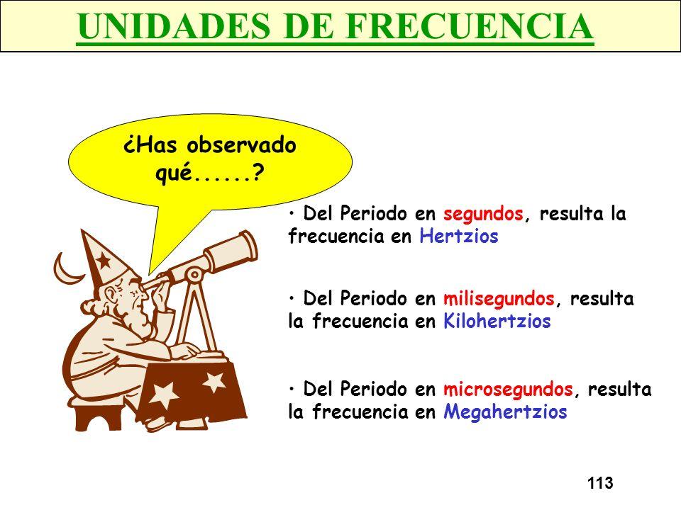 112 EJERCICIO 2 Calcular la frecuencia de las siguientes formas de onda 3 divisiones 5 divisiones Periodo =2 ms x 3 div = 6 msPeriodo = 5 ms x 5 div =