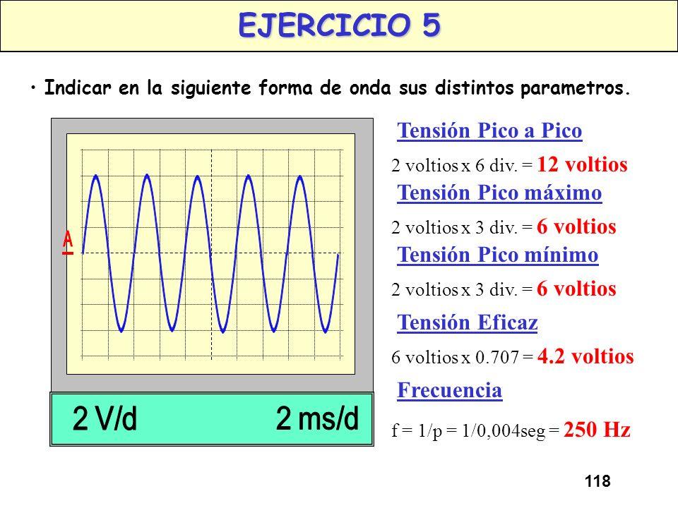 117 EJERCICIO 4 Indicar en la siguiente forma de onda sus distintos parametros. AMPLITUD 2 voltios x 6 div. = 12 voltios FRECUENCIA Periodo = 10 mseg