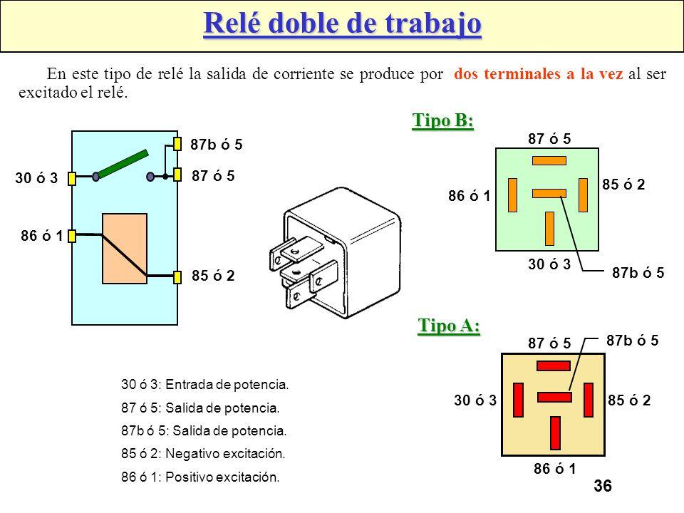 35 Tipos de Relés Relé simple de trabajo: En estos tipos de relés, el relé se encarga de unir la fuente de alimentación con el consumidor, accionándos