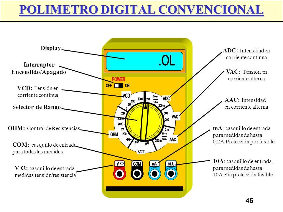 44 POLIMETRO DIGITAL CONVENCIONAL La indicación de medición se realiza a través de dígitos visualizados en una pantalla de cristal liquido. La medició