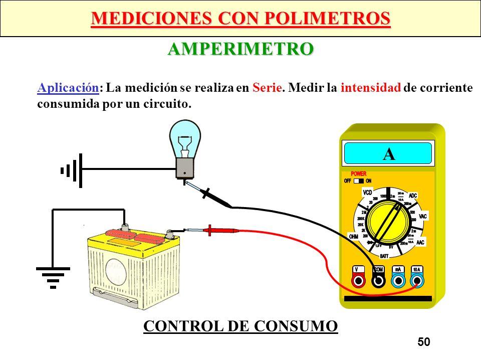 49 MEDICIONES CON POLIMETROS VOLTIMETRO Aplicación: La medición se realiza en Paralelo. Medir la tensión que llega a un elemento, asi como la caída de
