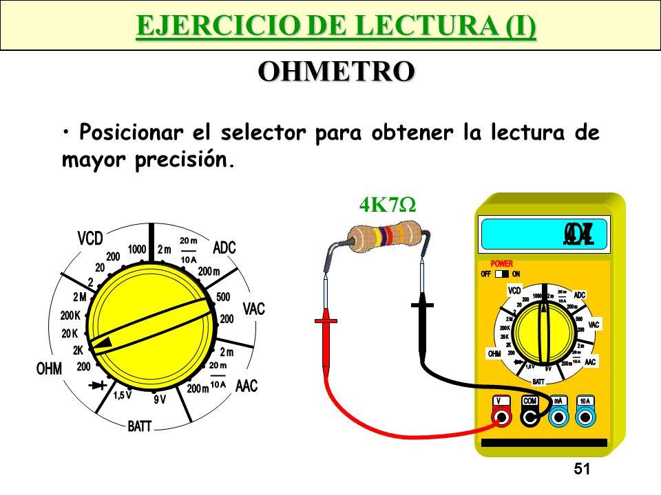 50 MEDICIONES CON POLIMETROS AMPERIMETRO Aplicación: La medición se realiza en Serie. Medir la intensidad de corriente consumida por un circuito. A CO