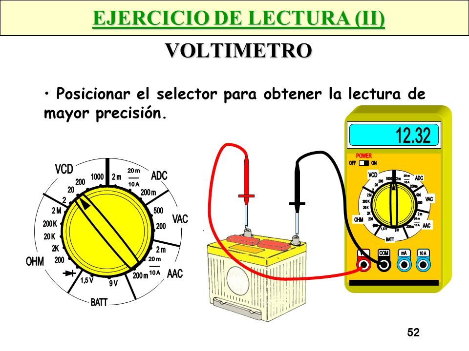 51 EJERCICIO DE LECTURA (I) OHMETRO 4K7 Posicionar el selector para obtener la lectura de mayor precisión.