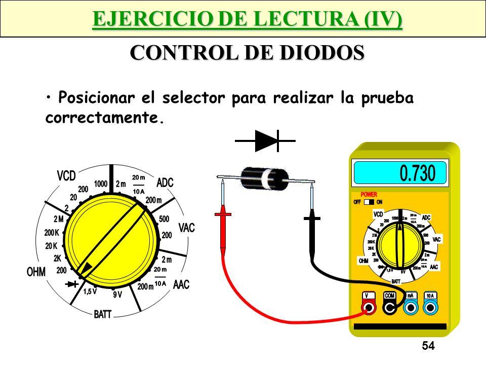53 EJERCICIO DE LECTURA (III) AMPERIMETRO 4K7 Posicionar el selector para obtener la lectura de mayor precisión.