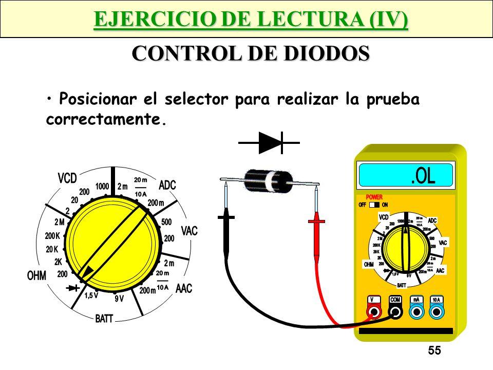 54 EJERCICIO DE LECTURA (IV) CONTROL DE DIODOS Posicionar el selector para realizar la prueba correctamente.