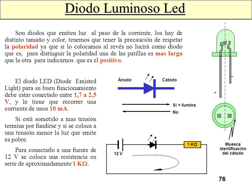 75 Al conectar el diodo zéner polarizado inversamente, el diodo se comporta como un diodo normal, siempre y cuando la tensión aplicada sea inferior a