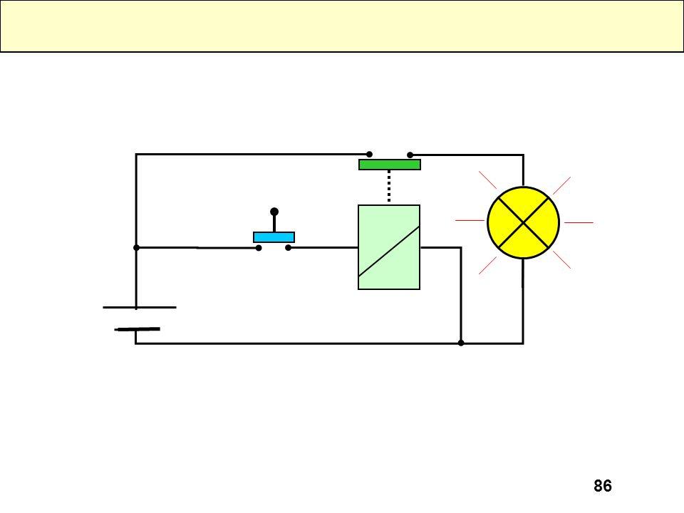 85 Cuando el transistor funciona en saturación, su funcionamiento se asemeja mucho a un relé. Al accionar el pulsador, se crea una corriente de base,