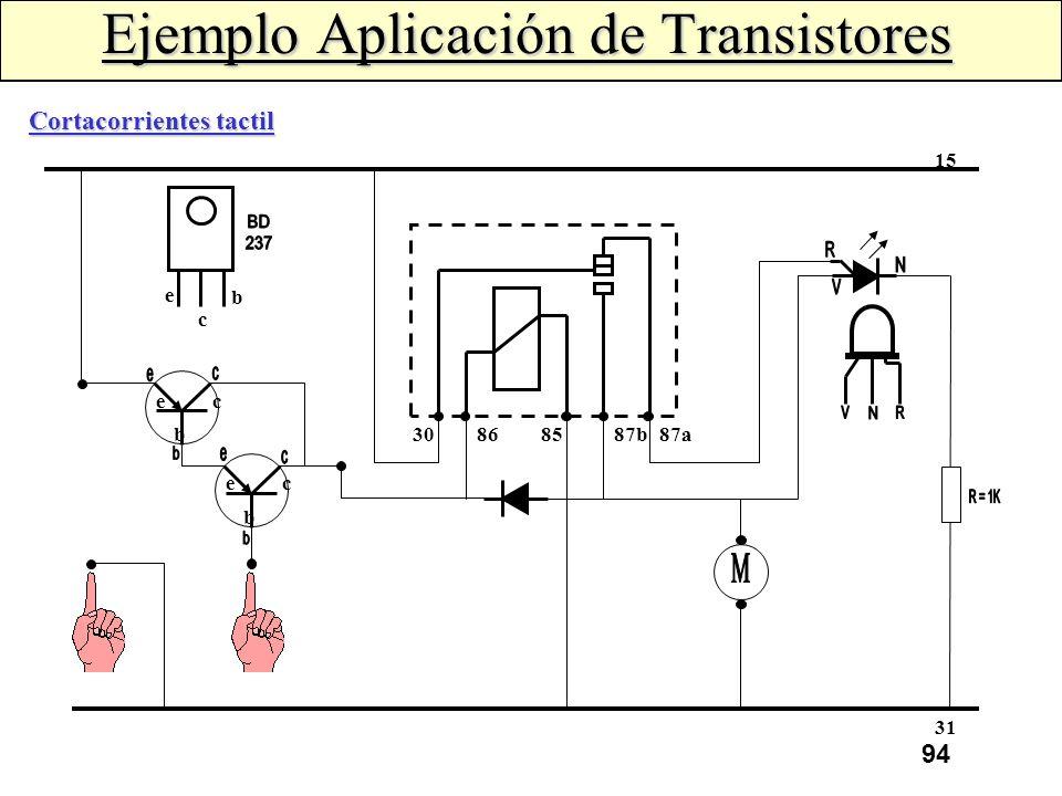 93 Ejemplo Aplicación de Transistores Regulador Electrónico La corriente de excitación se controla mediante el transistor (T 3 ) que cierra o abre el