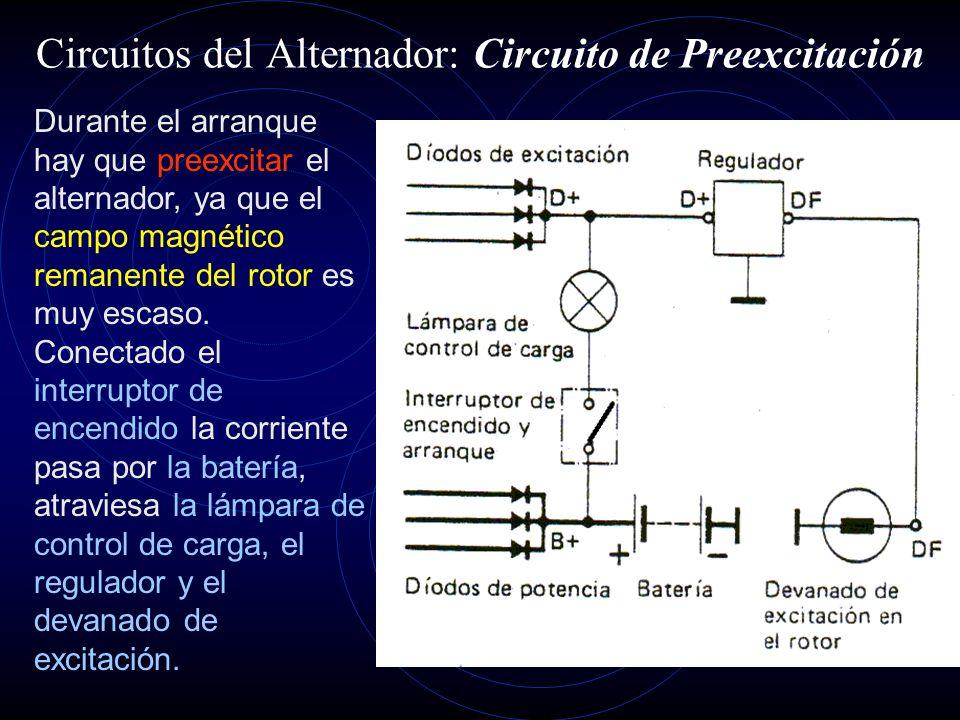 Circuitos del Alternador: Circuito de Excitación Es la corriente necesaria para formar el campo magnético, derivada del devanado estatórico y rectific