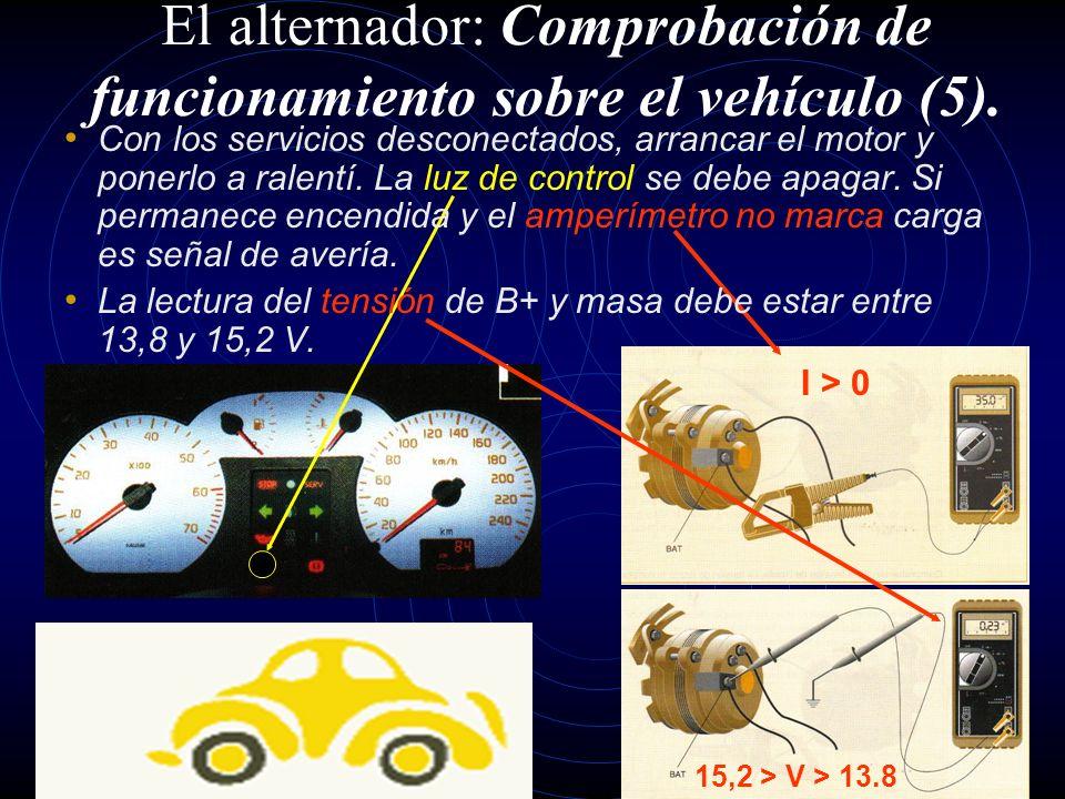 Accionar la llave de contacto sin arrancar el motor del vehículo. La luz de control debe encenderse, de no ser así es síntoma de avería. El alternador