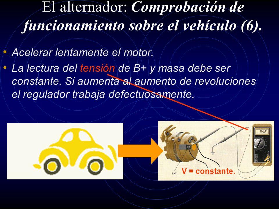 El alternador: Comprobación de funcionamiento sobre el vehículo (5). I > 0 15,2 > V > 13.8 Con los servicios desconectados, arrancar el motor y ponerl