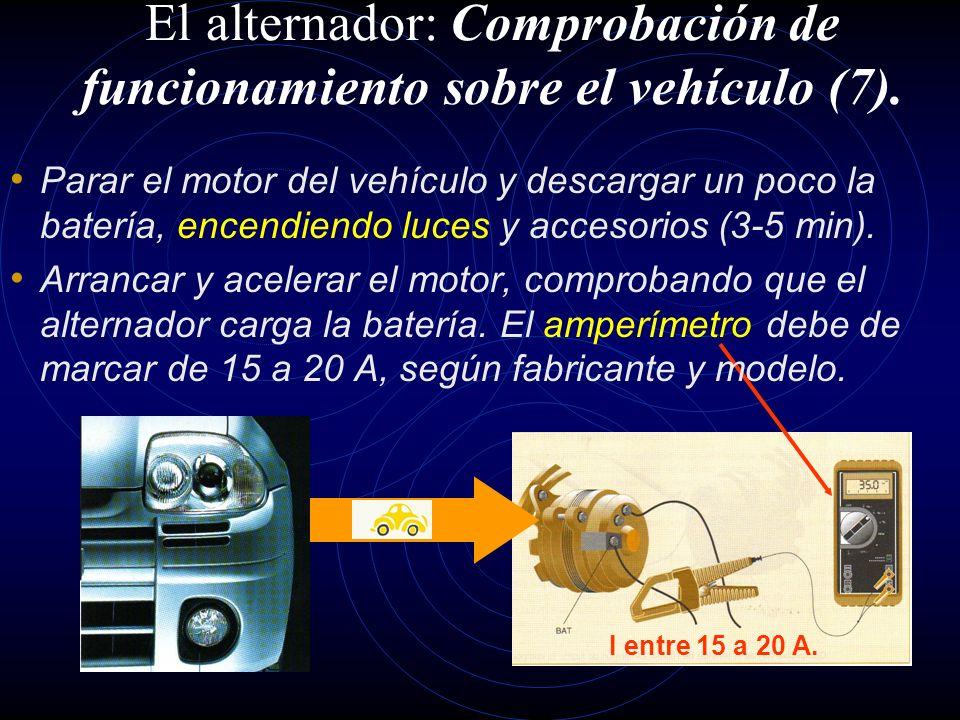 El alternador: Comprobación de funcionamiento sobre el vehículo (6). V = constante. Acelerar lentamente el motor. La lectura del tensión de B+ y masa