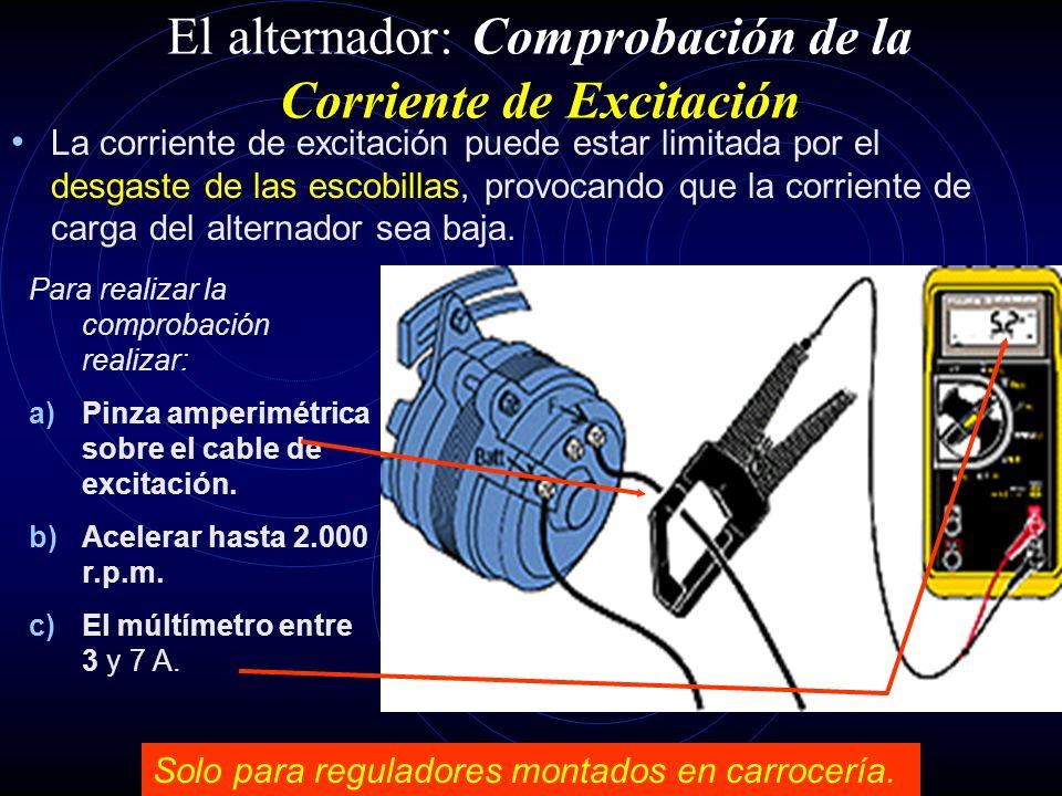 El alternador: Comprobación de funcionamiento sobre el vehículo (7). I entre 15 a 20 A. Parar el motor del vehículo y descargar un poco la batería, en