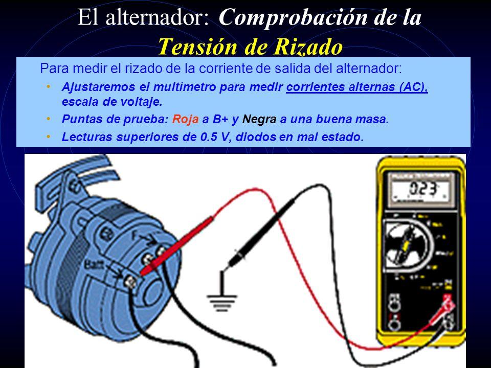 El alternador: Comprobación de la Corriente de Excitación La corriente de excitación puede estar limitada por el desgaste de las escobillas, provocand