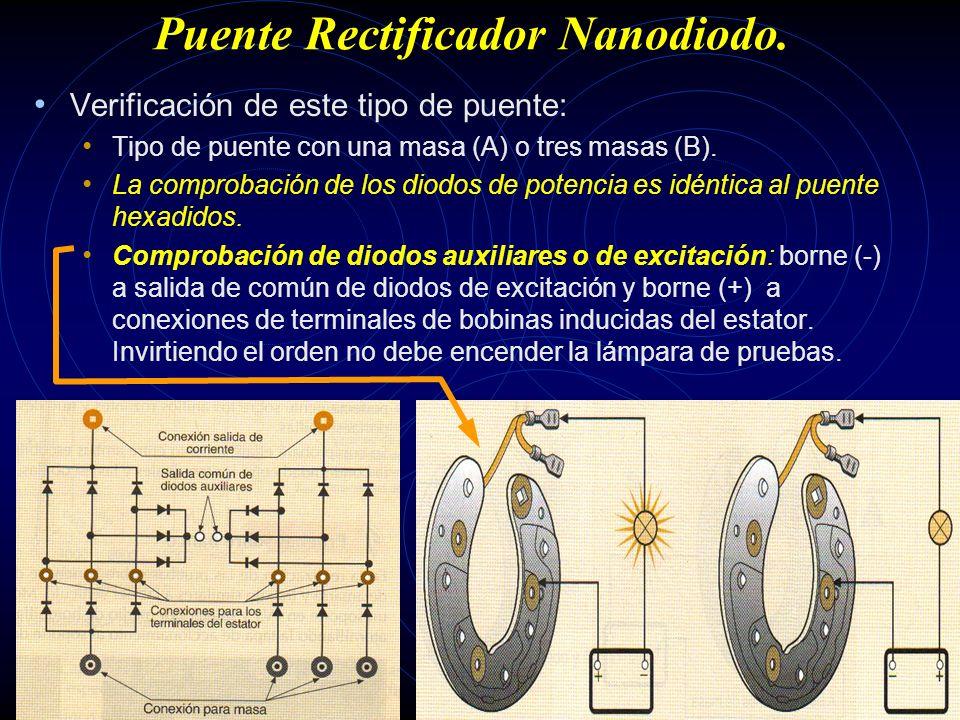 Puente Rectificador Hexadiodo. Verificación de este tipo de puente: Tipo de puente con una masa (A) o tres masas (B). Comprobación diodos inferiores d