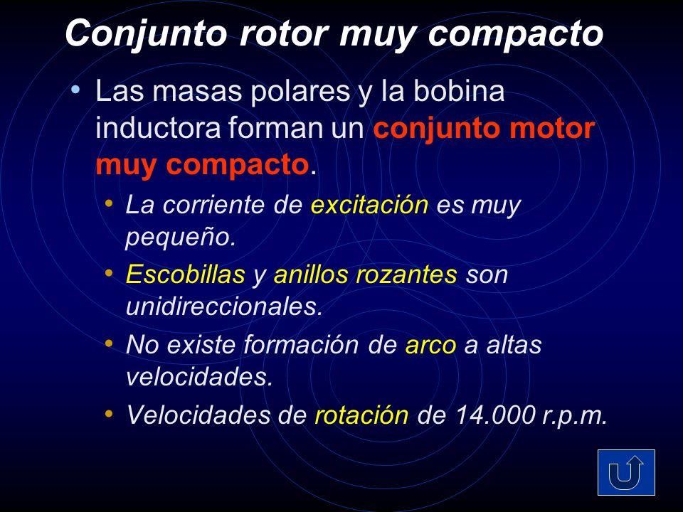 Conjunto rotor muy compacto Las masas polares y la bobina inductora forman un conjunto motor muy compacto.