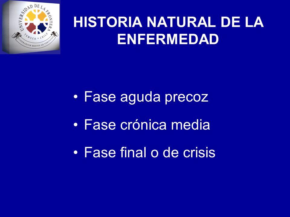 HISTORIA NATURAL DE LA ENFERMEDAD Fase aguda precoz Fase crónica media Fase final o de crisis