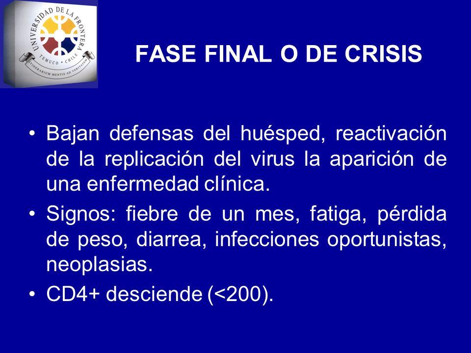 FASE FINAL O DE CRISIS Bajan defensas del huésped, reactivación de la replicación del virus la aparición de una enfermedad clínica. Signos: fiebre de