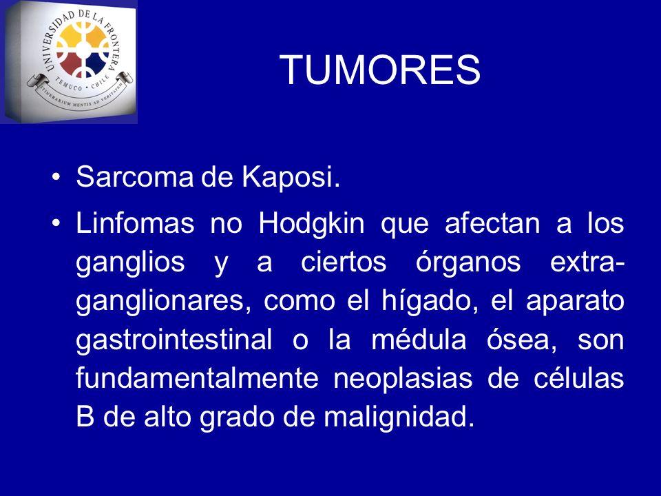 TUMORES Sarcoma de Kaposi. Linfomas no Hodgkin que afectan a los ganglios y a ciertos órganos extra- ganglionares, como el hígado, el aparato gastroin
