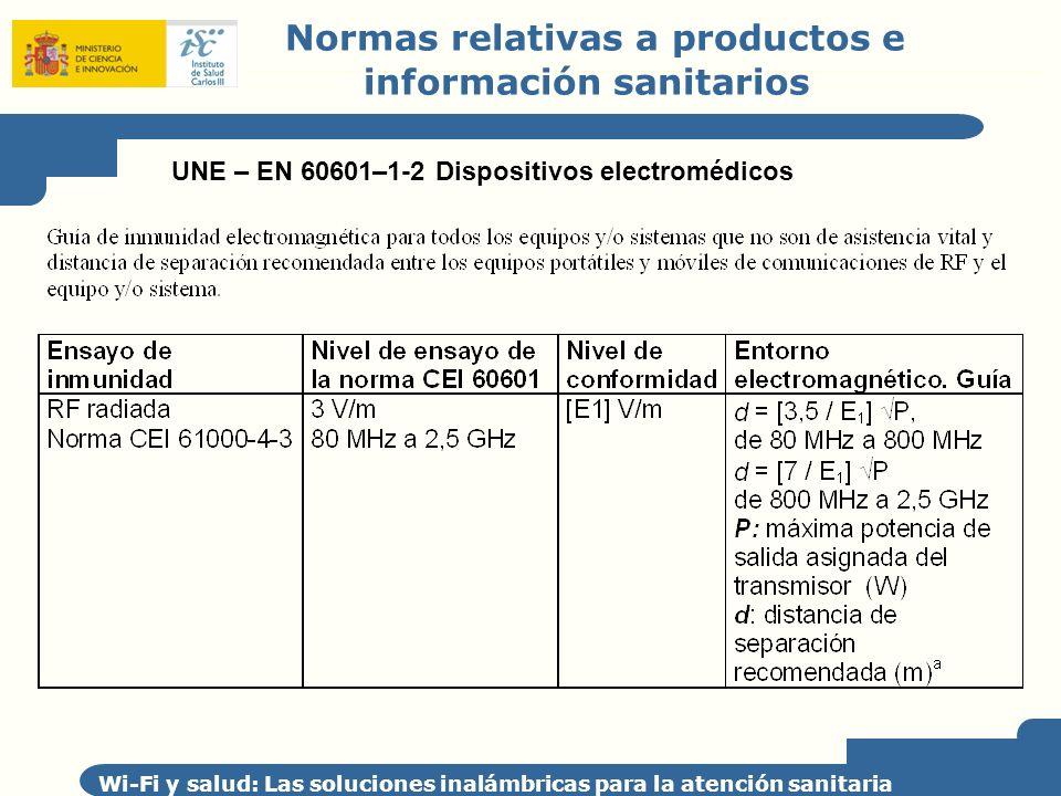 Normas relativas a productos e información sanitarios Wi-Fi y salud: Las soluciones inalámbricas para la atención sanitaria UNE – EN 60601–1-2 Disposi