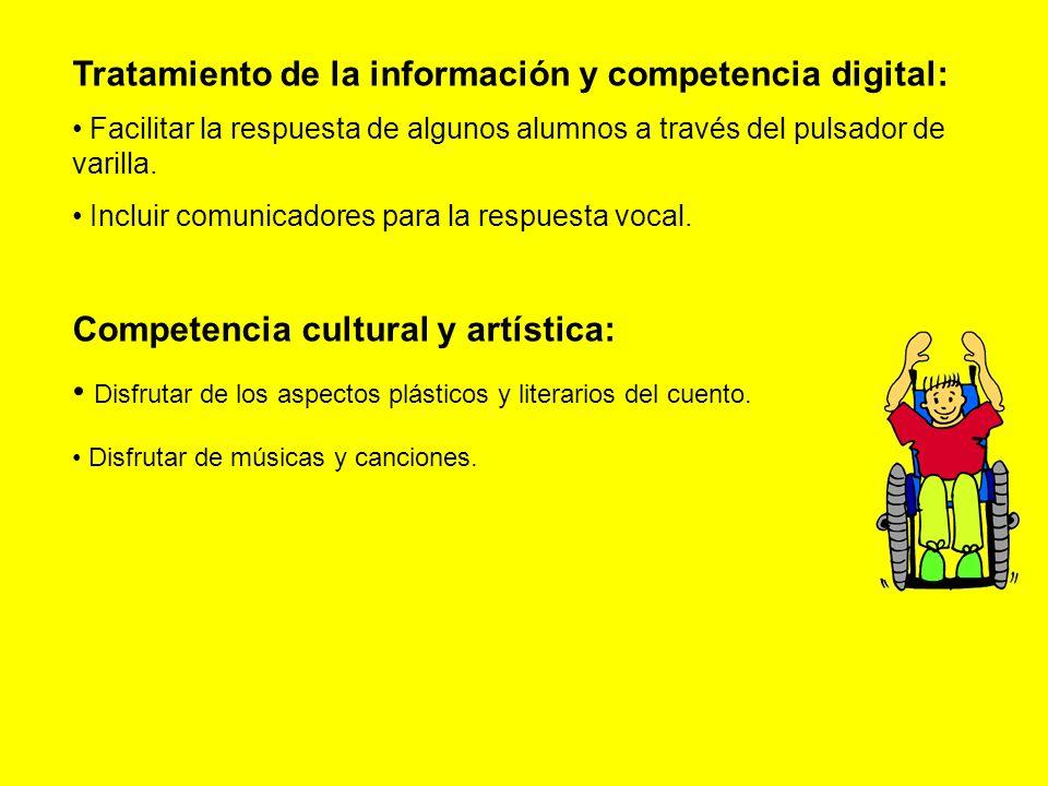 Tratamiento de la información y competencia digital: Facilitar la respuesta de algunos alumnos a través del pulsador de varilla.