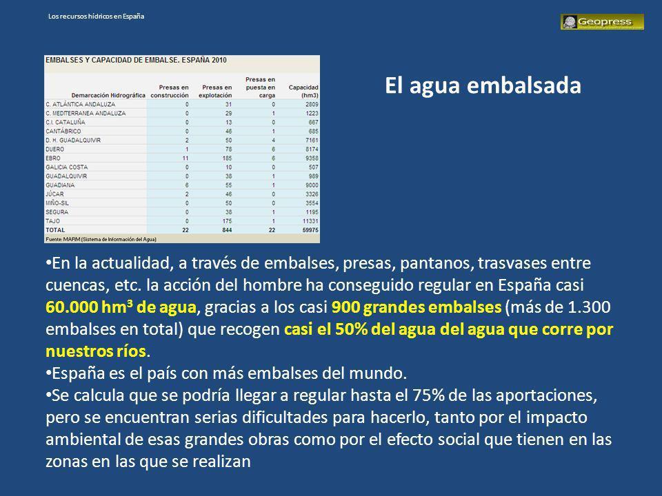Los recursos hídricos en España En la actualidad, a través de embalses, presas, pantanos, trasvases entre cuencas, etc. la acción del hombre ha conseg