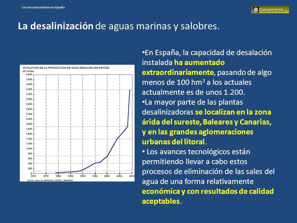 Los recursos hídricos en España La desalinización de aguas marinas y salobres. En España, la capacidad de desalación instalada ha aumentado extraordin