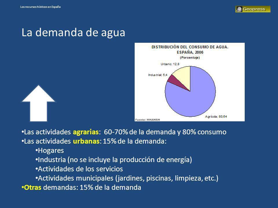 Los recursos hídricos en España La demanda de agua Las actividades agrarias: 60-70% de la demanda y 80% consumo Las actividades urbanas: 15% de la dem