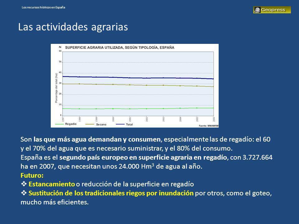 Los recursos hídricos en España Las actividades agrarias Son las que más agua demandan y consumen, especialmente las de regadío: el 60 y el 70% del ag