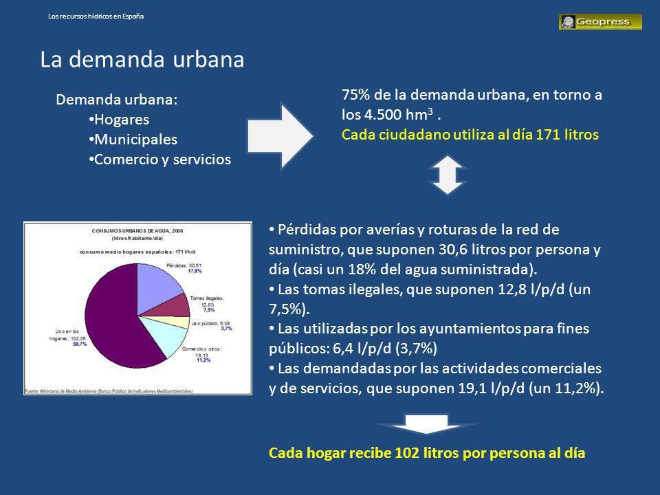 La demanda urbana Demanda urbana: Hogares Municipales Comercio y servicios 75% de la demanda urbana, en torno a los 4.500 hm 3. Cada ciudadano utiliza