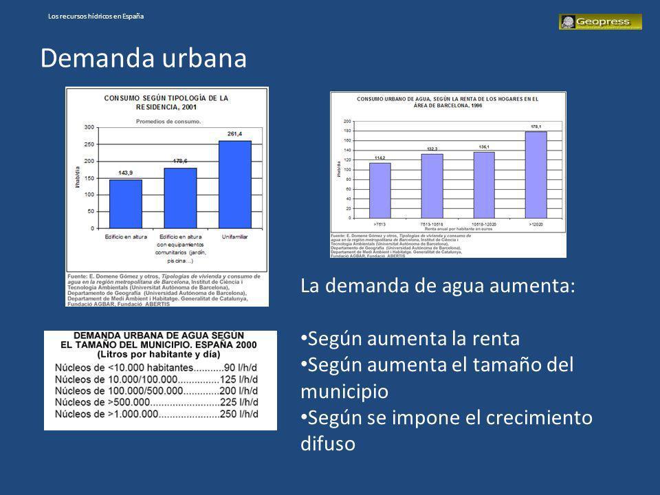 Los recursos hídricos en España Demanda urbana La demanda de agua aumenta: Según aumenta la renta Según aumenta el tamaño del municipio Según se impon