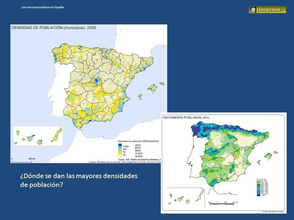 Los recursos hídricos en España ¿Dónde se dan las mayores densidades de población?