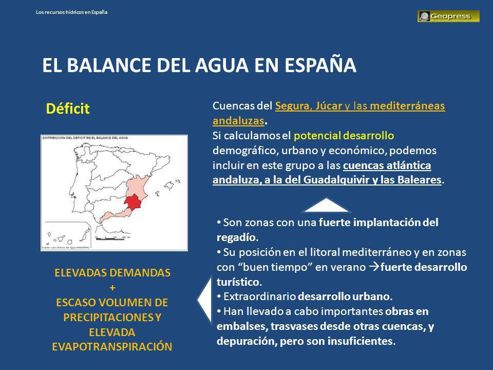 Los recursos hídricos en España EL BALANCE DEL AGUA EN ESPAÑA Déficit Cuencas del Segura, Júcar y las mediterráneas andaluzas. Si calculamos el potenc