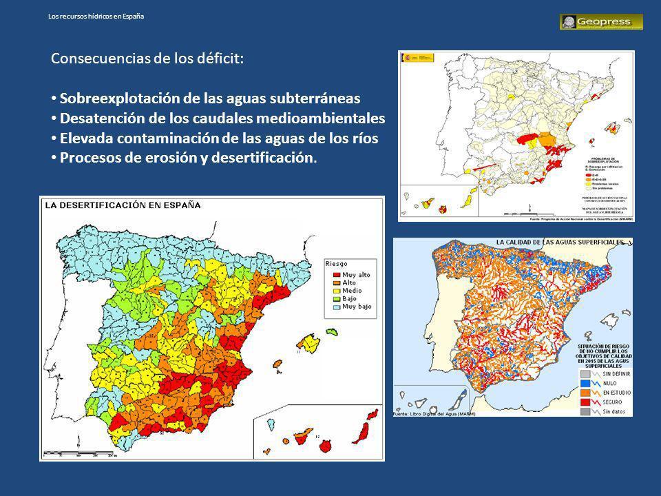 Consecuencias de los déficit: Sobreexplotación de las aguas subterráneas Desatención de los caudales medioambientales Elevada contaminación de las agu