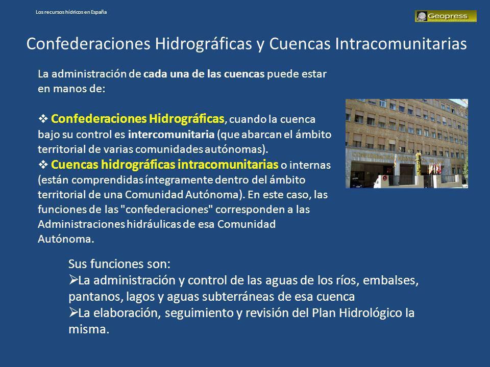 Los recursos hídricos en España Confederaciones Hidrográficas y Cuencas Intracomunitarias La administración de cada una de las cuencas puede estar en