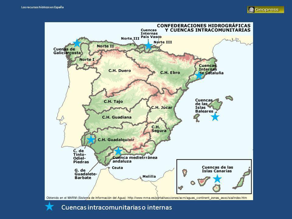 Los recursos hídricos en España Cuencas intracomunitarias o internas